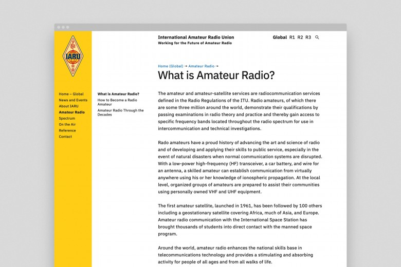 International Amateur Radio Union Website 2